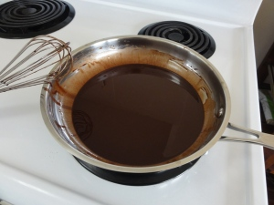 Coconut oil and cocoa powder