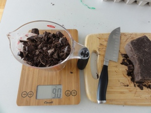 Weighing out chocolate