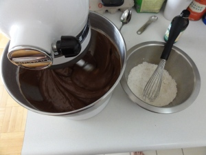 Chocolate batter in motion