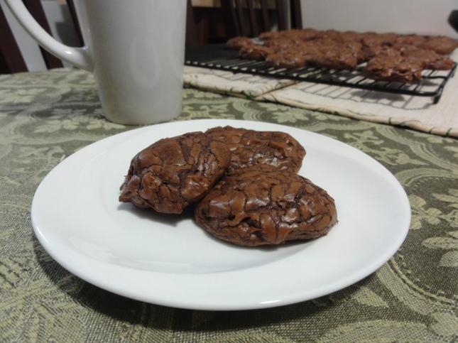 Double chocolate walnut cookies on a plate