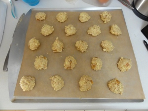 Formed cookie dough ready for baking