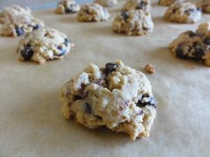 Baked frozen oat chocolate chip cookies