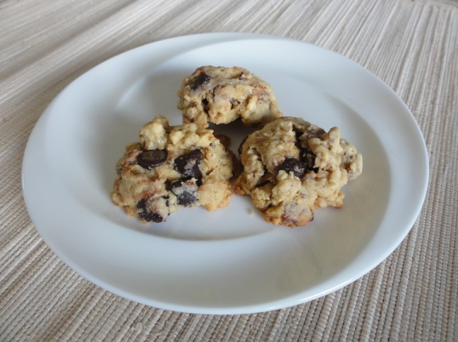 Baked frozen oat chocolate chip cookies on a plate