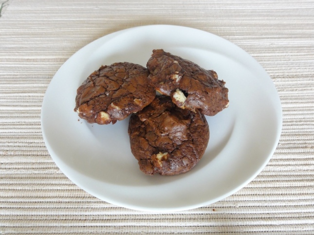 Double chocolate macadamia cookies on a plate