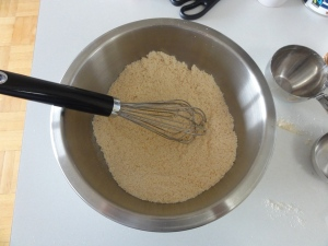 Blended coconut flour and shredded coconut