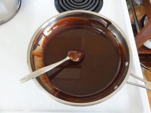 Melted chocolate and coconut oil