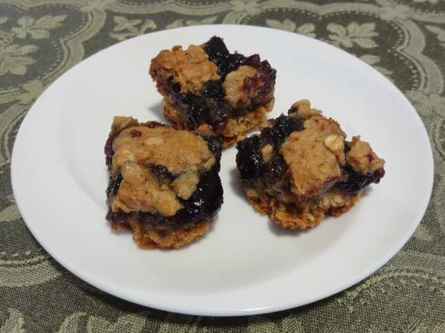 Blueberry honey oatmeal squares on a plate