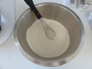 Dry ingredients whisked