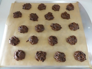 Double chocolate tahini cookies on a baking sheet
