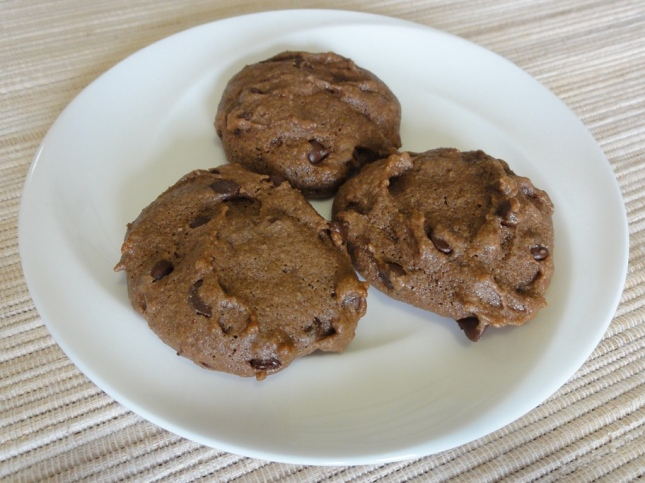 Double chocolate tahini cookies on a plate