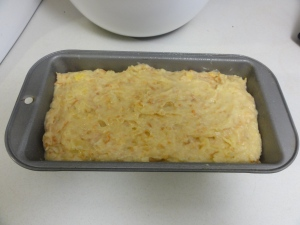 Coconut pineapple cake before going in the oven