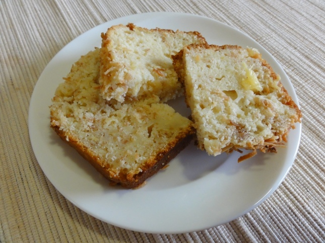 Coconut pineapple cake on a plate