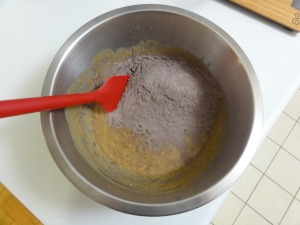 Dry ingredients added to wet ingredients