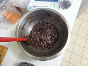 Double chocolate banana bread batter