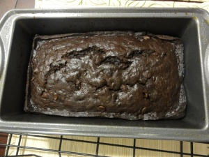 Baked double chocolate banana bread batter