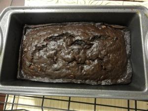 Baked double chocolate banana bread batter