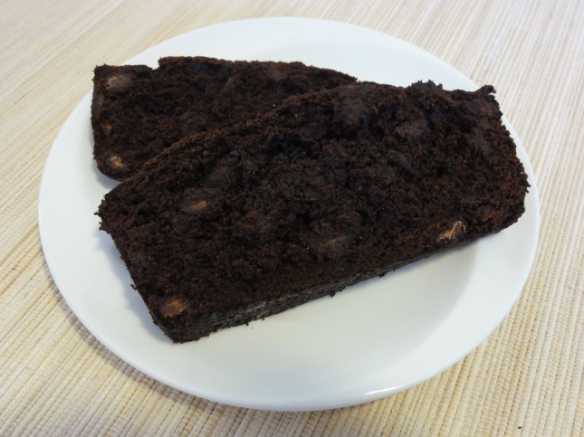 Double chocolate banana bread on a plate