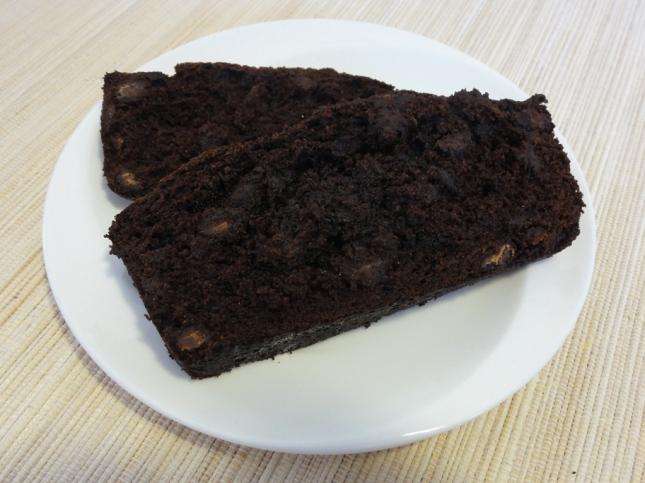 Double chocolate banana bread on a plate