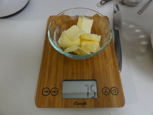 Weighing out the butter