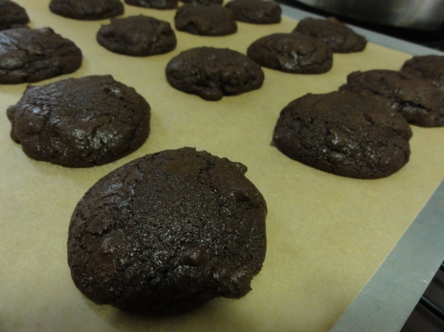 Chocolate chili cookies on a tray